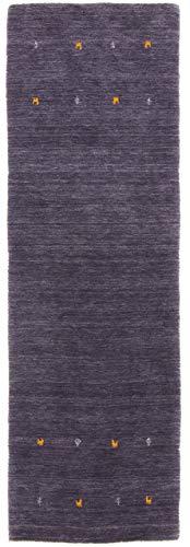CarpetFine: Tappeto Gabbeh Uni Passatoia 75x240 cm Nero - Monocromatico