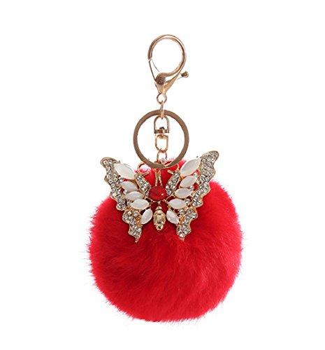 Ularma Bola del Rhinestone mariposa llavero bolso peluche llavero de piel de conejo (rojo)