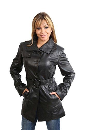 House Of Leather Donna Trench Cappotto di Vera Pelle Attrezzato metà di Lunghezza Stile Classico Shania Nero (Medium)