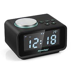 Kaufen FM Radiowecker, Reacher Digitaler Wecker mit Dual-Alarm, Dual USB-Ladeanschluss, Snooze-Funktion, Innenthermometer, 6-stufige Helligkeit, 12/24-Stunden