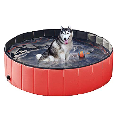 Yaheetech Hundepool, Swimmingpool, Planschbecken, Hundebadewanne, Faltbarer Pool, Badewanne Wasserbecken für Hunde 120 * 30cm