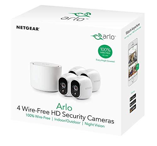 41Se5afcFiL [Bon Arlo !  Arlo - Smart Caméra de surveillance - Pack de 4 - Kit de Surveillance 100% sans Fil, HD, Vision Nocturne, Etanches ...