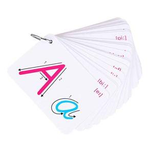 Ogquaton Fuente pequeña Tarjeta de 26 cartas Estándar, letra manuscrita en inglés Tarjeta de aprendizaje Herramienta de educación para la primera infancia Útil y práctico