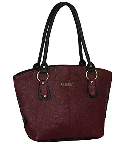 Fristo Women's Handbag (Maroon and Black)