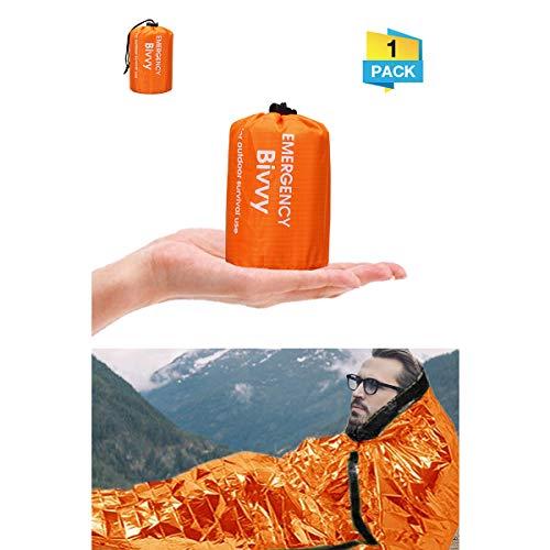 Charminer Notfallzelt,Biwaksack Survival Schlafsack warm Outdoor Tube Zelt wasserdicht leicht hitzeabweisend Kälteschutz Ultraleicht Rettungszelt für Camping im Freien und Wandern 1 Packung