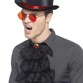 Smiffys-45608 Kit gótico, con Sombrero de Copa, Gafas y Gola, Color Rojo y Negro, Tamaño único (Smiffy'S 45608)
