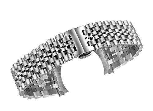 20 millimetri argento sostituzione cinghie metallo raffinato per gli uomini solidi multipli in acciaio inox termina curvo/dritto