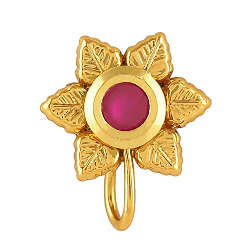 Om Jewells Immitation Jewellery Gold Plated Floral Design Nath Nose Pin with Red Kundan Stone for Girls and Women NP1000102