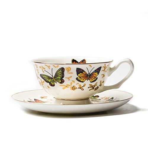 ufengke® 250Ml Europeo Porcelana De Ceniza De Hueso Vistoso Mariposa Impresa Juego De Taza De Café Y Platillo Tarde Juego De Taza De Té