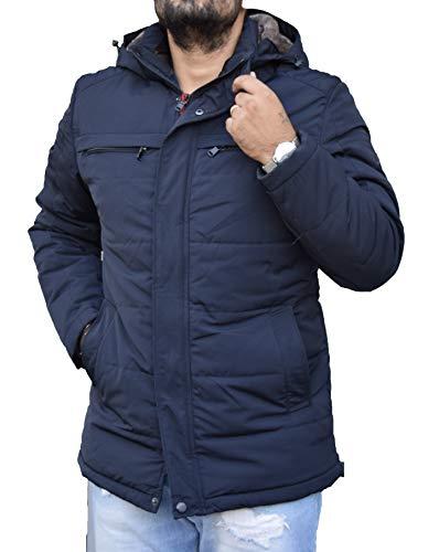 Antony Morale Giaccone Giubbotto Parka Uomo Invernale Giacca Soprabito Elegante Cappotto Sartoriale Slim Fit (Nero, Blu) con Cappuccio Removibile 2 Colori Modello con Pelliccia 8552(2XL, Blu)