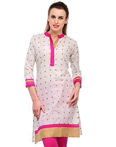 Cenizas Women Cotton Straight Kurta (Kurtis/2110/Pnk/M _White _M)
