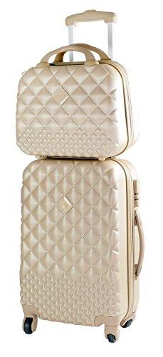 set valigia 46lt + vanity case 12lt champagne