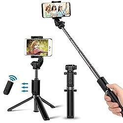 Kaufen Bovon Selfie Stick Stativ mit Bluetooth-Fernauslöser Selfie-Stangen Ausfahrbar 360°Rotation, Selfiestick für iPhone X/8/8 Plus/7/7 Plus, Samsung S9/S9 Plus und alle Handys mit der Breite 5.5cm-8.5cm