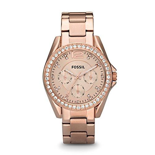 Fossil Damen Analog Quarz Uhr mit Edelstahl beschichtet Armband ES2811