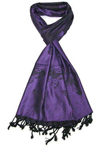 LOVARZI Señoras bufanda - Bufandas largas hermosa mariposa púrpura - Pañuelos chal pashmina de mujer