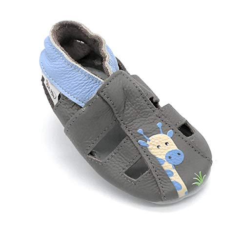 LEPEPPE - Sandali Aperti - Scarpine in Pelle Prima Infanzia - Pantofole Babucce - Bambino - Nido - Materne Danza - Fino Sandalo Giraffa (L - (14 cm di Suola))
