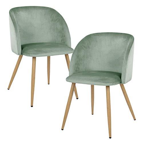 EGGREE Set di 2 Sedie da Pranzo in Velluto Vintage Poltrona Scandinave,Seduta e Schienale Imbottiti,Gambe in Metallo Stile Legno,Verde Agua