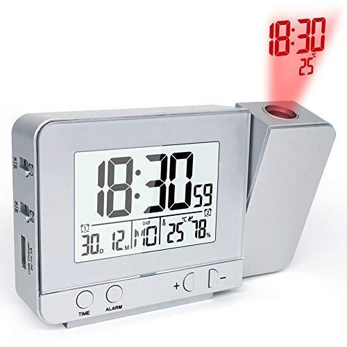 Sveglia Proiezione Digitale con Temperatura Parete/Soffitto Girevole Display LED Wake Up Proiettore...