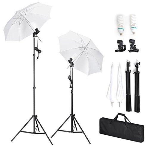 Amzdeal Set 2 Ombrello fotografico 1124W, Kit di illuminazione con 2 lampadina 135 Watt 5500K, 2...