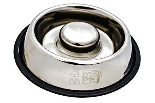 Plato de perro para alimentar lento | Comida sana anti tragar acero inoxidable higiénico | Antibacteriano & libre de productos químicos | Promueve la digestión saludable