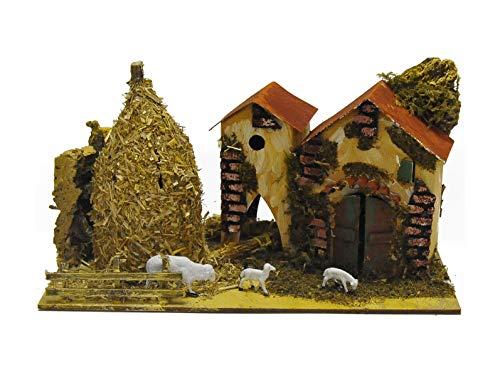 ROSSI ROSA Casolare Covone e Pecore cm.29x15x20