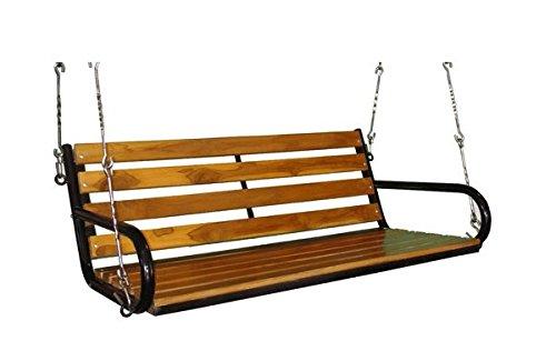 kaushalendra Swing Hanging Hammock Chair Teak Wooden for Indoor Outdoor Balcony Swings, 137 Cm