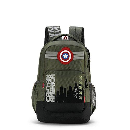 Skybags Sb Marvel 31.1328 Ltrs Olive School Backpack (SBMRV07OLV)