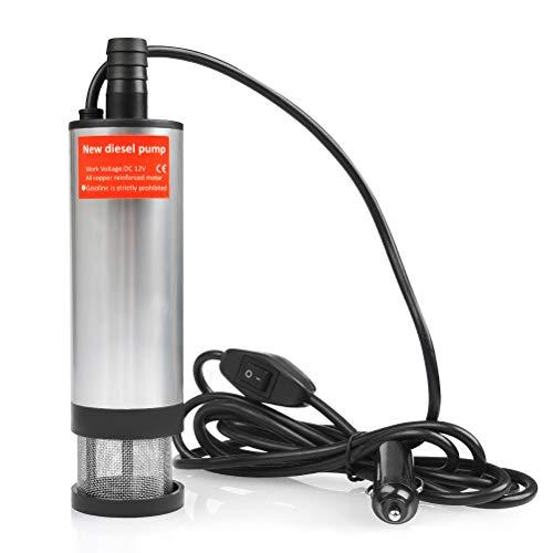 QLOUNI 12V 35L/min Bomba Sumergible de Agua del Acero Inoxidable Bomba de Combustible Diesel Transferencia de Líquido Diámetro 51mm Cable de 2.6m con Encendedor de Cigarrillos para Coche