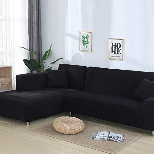 Copridivano Tre Posti Con Penisola,Copridivano elastico per soggiorno Custodia universale per divano Copridivano componibile per casa Copridivano elasticizzato spandex 1/2/3/4 posti@Black_A-B 190-230