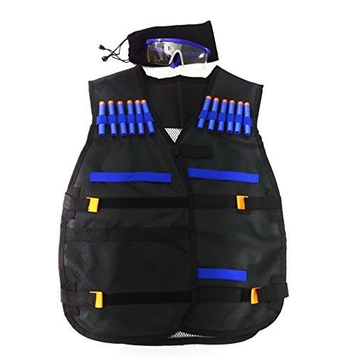 Gfu Tactical Vest Jacket With 12pcs Darts And Protective Goggles Glasses For Nerf Toy Gun N Strike Elite Series
