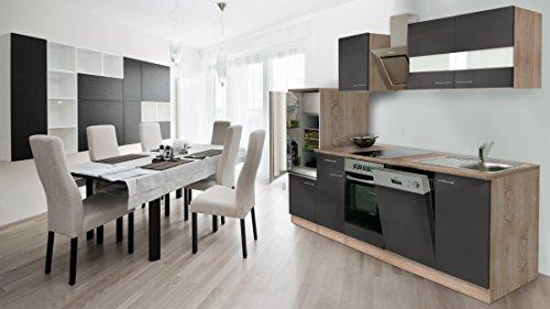 respekta Incasso Cucina Cucina Riga 280cm Rovere Sonoma Grezzo Front Grigio con Nastro Designer...