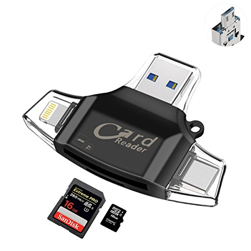 AUELEK 4 in 1 Lettore di Schede di Memoria Esterni Lightning USB 2.0 Flash Drive Reader Card con...
