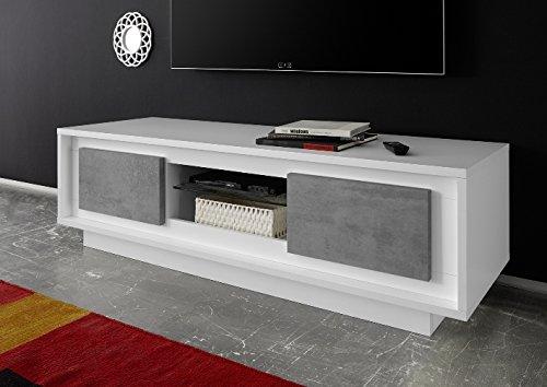 Arredocasagmb.it Mobile Porta TV Moderno Bianco Opaco Ante Effetto Cemento Soggiorno Shy 01