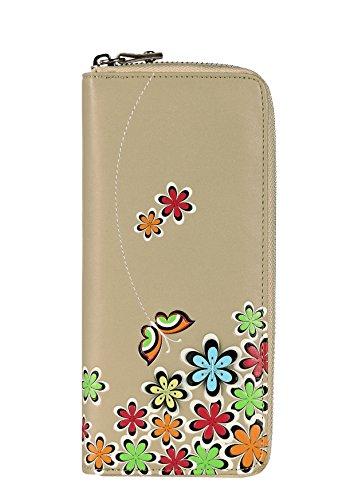 Menkai Cartera flores y mariposas alrededor en interior monedero cremallera y tarjetero 768W1 Beige