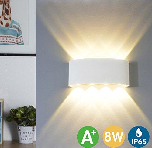 LED Wandleuchte Innen, LED Wandlampe Außen 8W Wasserdicht IP65 Modern Up Down Leuchte Wandlicht Aluminium Wandbeleuchtung für Bad Flur Kinderzimmer Treppenhaus Wohnzimmer Schlafzimmer