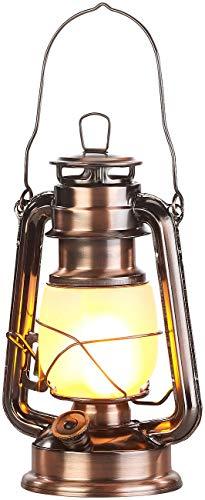 Lunartec LED Laterne: LED-Sturmlaterne mit Flammen-Effekt, 25 cm Höhe, bronzefarben (Camping-Laterne Batterie)