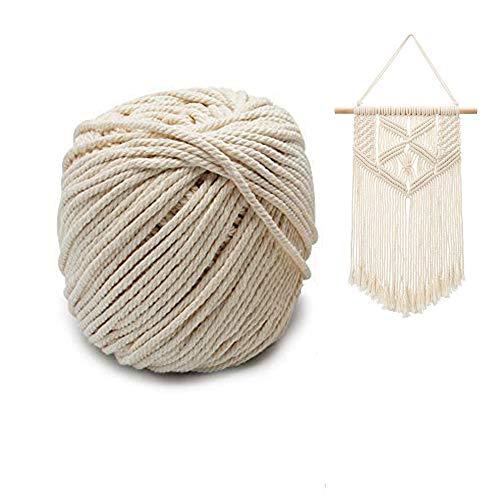 Koitoy Makramee Seil Baumwollgarn Baumwollkordel Natur bastelkordel Seil für Handwerk Machen Stricken Anfänger Wandbehang Pflanzenaufhänger DIY Geschenke Verpackung 3mm 100m(Beige)