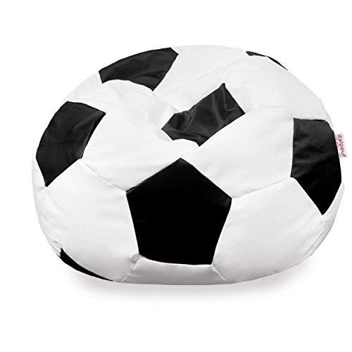 Italpouf Pouf Calcio Ecopelle Nero per Bambini, Pouf Sacco Ecopelle Pallone, Pouf Pallone Bianco-Nero, Poltrona Sacco Calcio (L : 40 x 60 Ø cm)