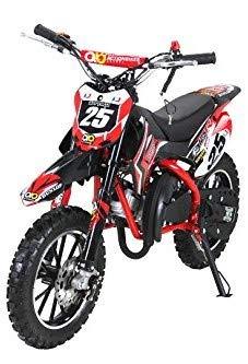 Actionbikes Motors Kinder Mini Crossbike Gepard 49 cc 2-takt inklusive Tuning Kupplung 15mm Vergaser Easy Pull Start verstärkte Gabel Dirt Bike Dirtbike Pocket Cross (Rot)