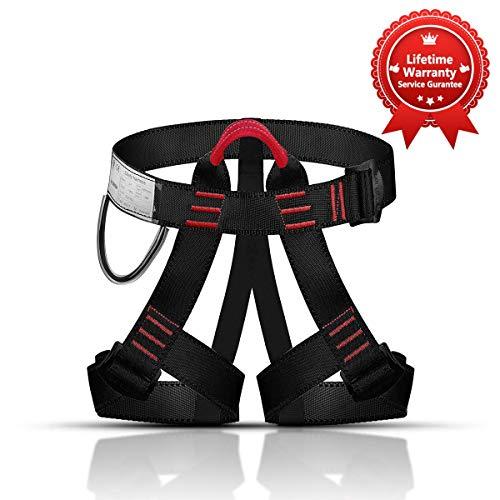 KINGUARD Arnés de Escalada Alpinismo Cuerda Equipo Escalada Ajustable Cinturón Seguro de Cadera de Cintura para Mujer y Hombre Escalada de Roca Alpinismo Rescate (Estilo Basico - Naranja)