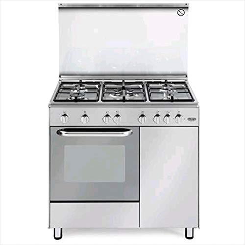 Cucina a gas 5 Fuochi con forno a gas 90x60 cm colore Inox