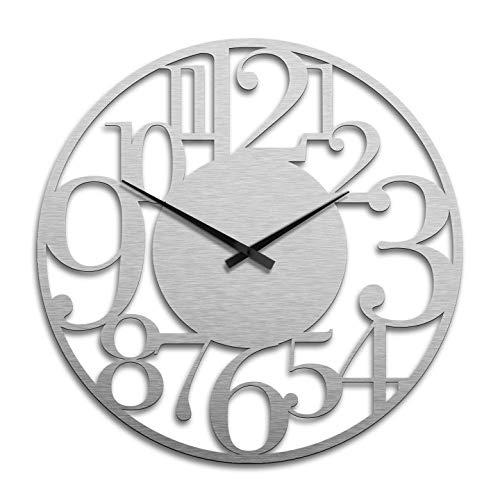 Grande orologio da parete XXL in alluminio effetto argento – Modern Ø 70 cm Wall-Art