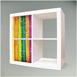 Möbelsticker für IKEA EXPEDIT (Kallax) Regal 32,6x67,8cm mit Motiv: Bunte Holzlatten