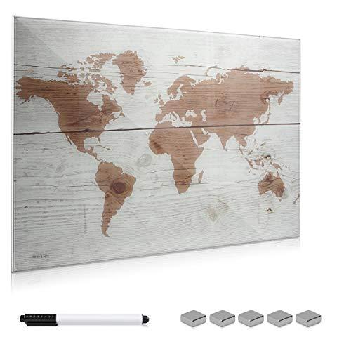 Navaris Lavagna magnetica in vetro scrivibile - 90x60cm 5x magneti 1x pennarello set fissaggio -...