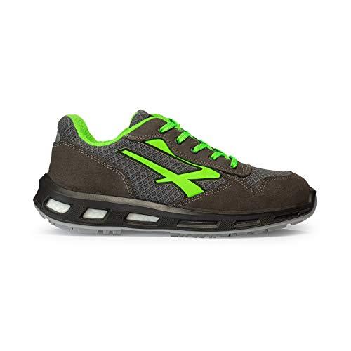 Upower RL20036 Zapatos de Seguridad con Suela Infinergy contra la Fatiga, Gris/Verde, 41