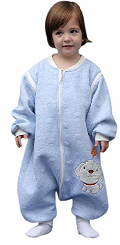 Bebé Saco de dormir ganzjahres perro con pies de schlafanzug infantil baumwollen Niño y Niña Pijama/Mono/strampler. para 2-5jährige. con mangas largas & # X3002; azul Hund blau Talla:L: 95-115cm