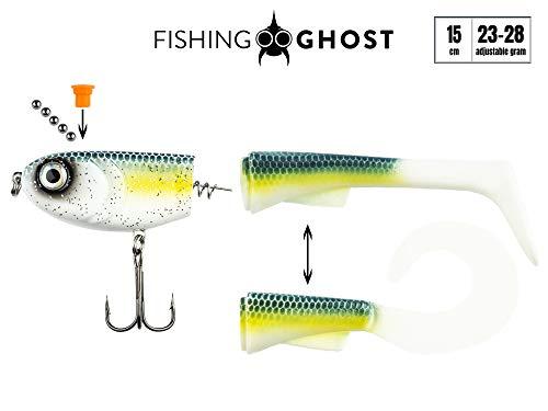 FISHINGGHOST Grumpy Switch, 23-28gr, 15cm, con Coda Intercambiabile, Azione di Nuoto Estremo, Esche da Pesca per la Pesca del luccio, Esca Morbida, Esca per Nuotare (Mermaid)