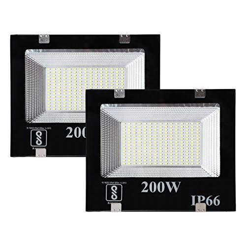 ESS EMM® 200 Watt Ultra Thin Slim Ip66 LED Flood Outdoor Light Cool White Waterproof- 200W,Pack of 2
