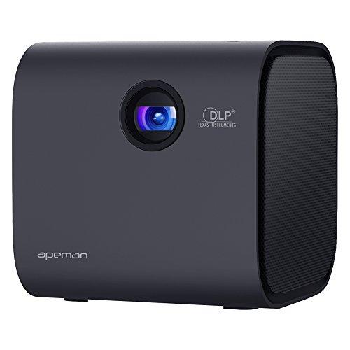 APEMAN Mini Tragbarer Beamer mit DLP, Bluetooth V4.2 Lautsprecher, LED Hohem Kontrast, 1080P HDMI, eingebauter Batterie Heimkino Projektor, Lebensdauer des Objektiv bis zu 40000 Stunden