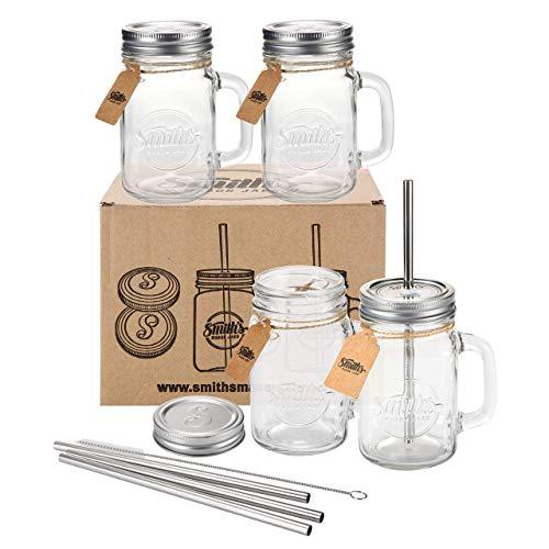 Smiths Mason Jar set di quattro barattoli con coperchi e cannucce